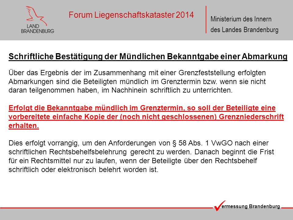 ermessung Brandenburg Ministerium des Innern des Landes Brandenburg Forum Liegenschaftskataster 2014 Schriftliche Bestätigung der Mündlichen Bekanntga