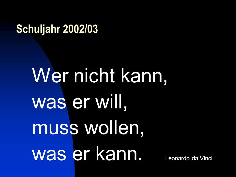 Schuljahr 2002/03 Wer nicht kann, was er will, muss wollen, was er kann. Leonardo da Vinci
