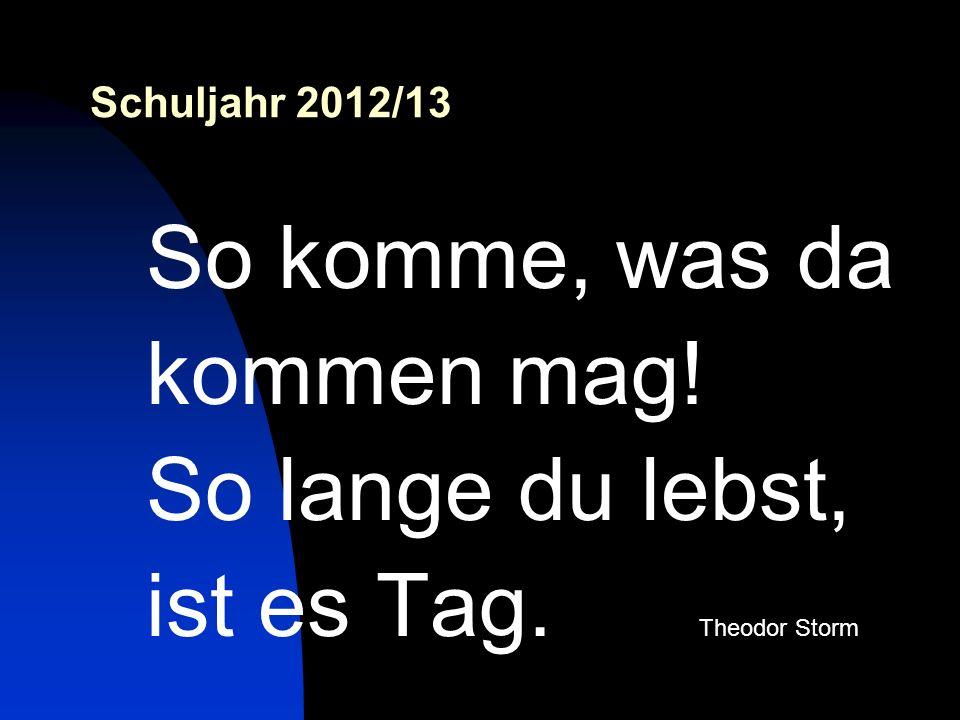Schuljahr 2012/13 So komme, was da kommen mag! So lange du lebst, ist es Tag. Theodor Storm
