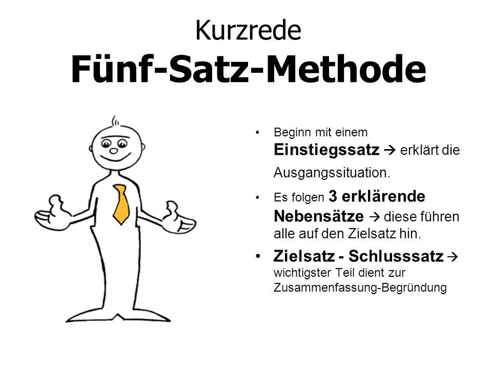 Kurzrede Fünf-Satz-Methode Beginn mit einem Einstiegssatz erklärt die Ausgangssituation. Es folgen 3 erklärende Nebensätze diese führen alle auf den Z