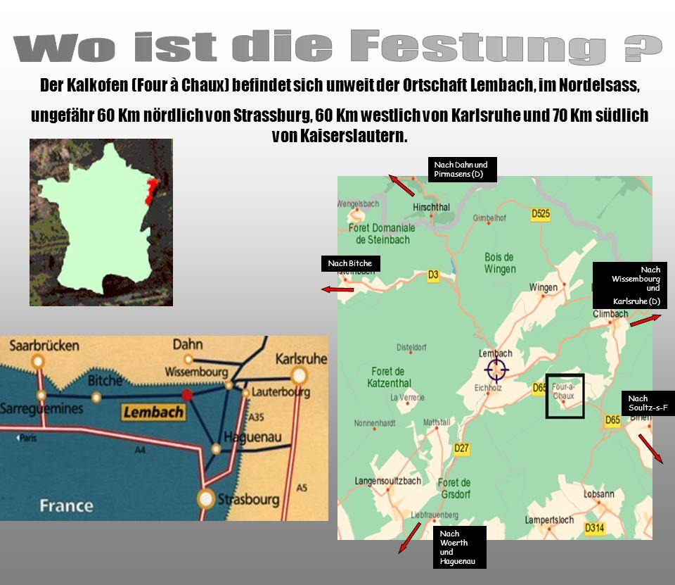 Der Kalkofen (Four à Chaux) befindet sich unweit der Ortschaft Lembach, im Nordelsass, ungefähr 60 Km nördlich von Strassburg, 60 Km westlich von Karl
