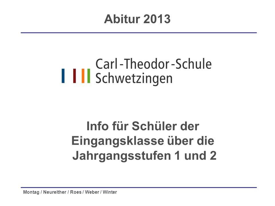 Montag / Neureither / Roes / Weber / Winter Info für Schüler der Eingangsklasse über die Jahrgangsstufen 1 und 2 Abitur 2013