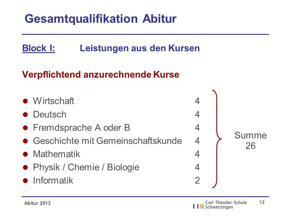Abitur 2013 12 Gesamtqualifikation Abitur Block I:Leistungen aus den Kursen Verpflichtend anzurechnende Kurse l Wirtschaft4 l Deutsch4 l Fremdsprache
