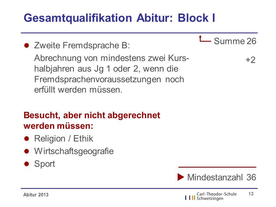 Abitur 2013 13 Gesamtqualifikation Abitur: Block I l Zweite Fremdsprache B: Abrechnung von mindestens zwei Kurs- halbjahren aus Jg 1 oder 2, wenn die Fremdsprachenvoraussetzungen noch erfüllt werden müssen.