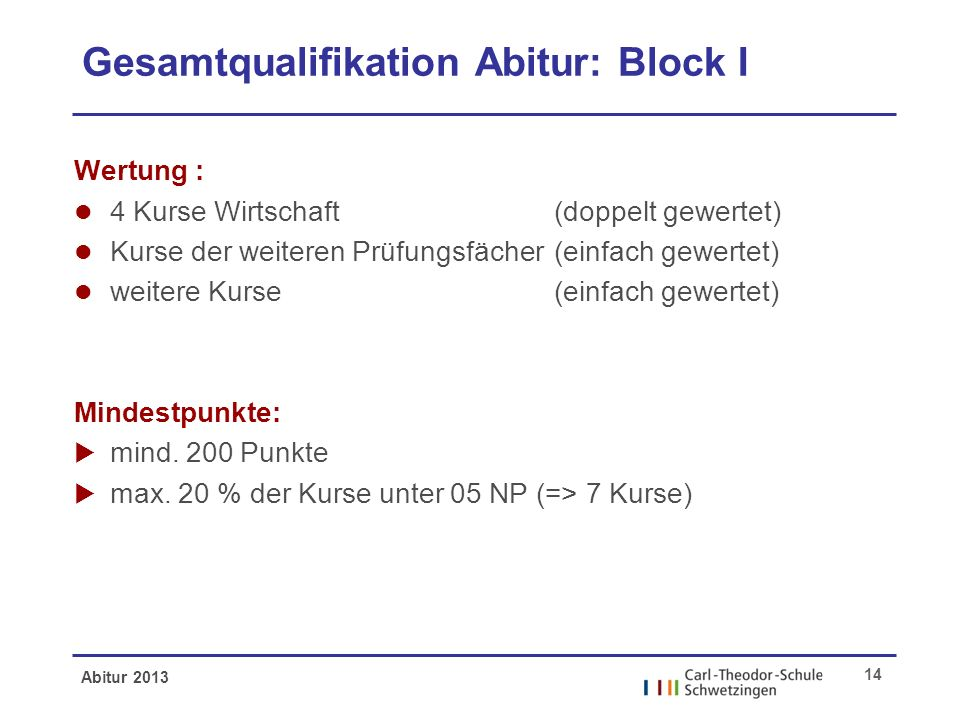 Abitur 2013 14 Gesamtqualifikation Abitur: Block I Wertung : l 4 Kurse Wirtschaft (doppelt gewertet) l Kurse der weiteren Prüfungsfächer (einfach gewertet) l weitere Kurse (einfach gewertet) Mindestpunkte: mind.
