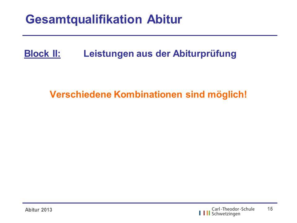 Abitur 2013 15 Gesamtqualifikation Abitur Block II: Leistungen aus der Abiturprüfung Verschiedene Kombinationen sind möglich!