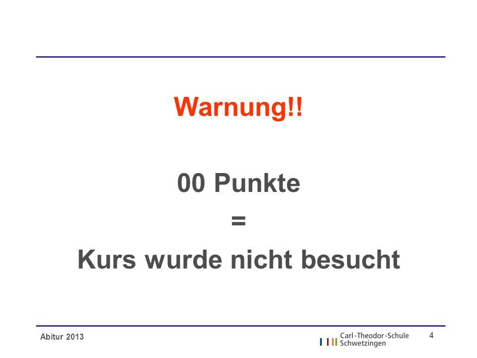 Abitur 2013 4 Warnung!! 00 Punkte = Kurs wurde nicht besucht
