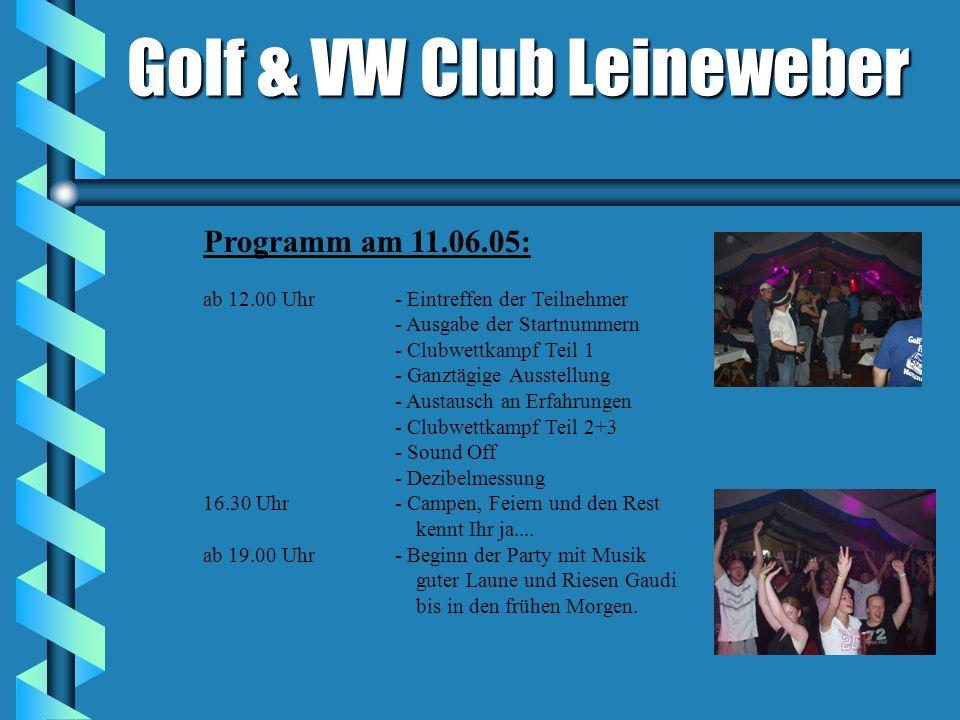 Programm am 11.06.05: ab 12.00 Uhr- Eintreffen der Teilnehmer - Ausgabe der Startnummern - Clubwettkampf Teil 1 - Ganztägige Ausstellung - Austausch an Erfahrungen - Clubwettkampf Teil 2+3 - Sound Off - Dezibelmessung 16.30 Uhr- Campen, Feiern und den Rest kennt Ihr ja....