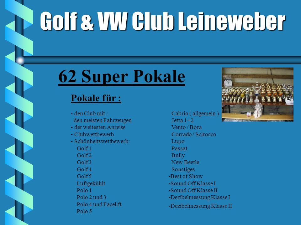Golf & VW Club Leineweber Pokale für : - den Club mit : den meisten Fahrzeugen - der weitesten Anreise - Clubwettbewerb - Schönheitswettbewerb: Golf 1 Golf 2 Golf 3 Golf 4 Golf 5 Luftgekühlt Polo 1 Polo 2 und 3 Polo 4 und Facelift Polo 5 Cabrio ( allgemein ) Jetta 1+2 Vento / Bora Corrado / Scirocco Lupo Passat Bully New Beetle Sonstiges -Best of Show -Sound Off Klasse I -Sound Off Klasse II -Dezibelmessung Klasse I -Dezibelmessung Klasse II 62 Super Pokale