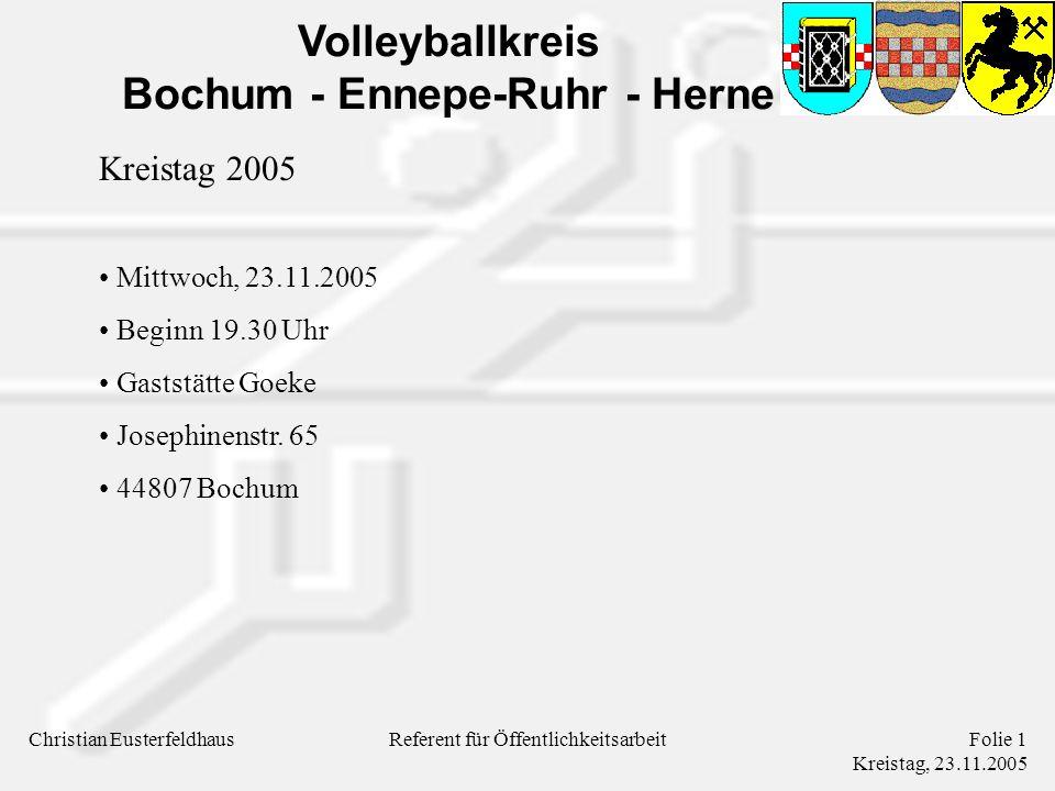 Volleyballkreis Bochum - Ennepe-Ruhr - Herne Christian EusterfeldhausFolie 2 Kreistag, 23.11.2005 Referent für Öffentlichkeitsarbeit Tagesordnung TOP 1: Begrüßung und Feststellung der Anwesenden und Stimmberechtigten TOP 2: Berichte der Kreisausschußmitglieder TOP 3: Bericht der Kassenprüfer TOP 4: Entlastung des Kreisausschusses TOP 5: Beschlußfassung über vorliegende Anträge TOP 6: Verschiedenes