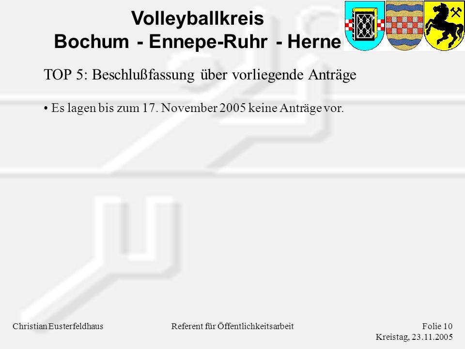Volleyballkreis Bochum - Ennepe-Ruhr - Herne Christian EusterfeldhausFolie 10 Kreistag, 23.11.2005 Referent für Öffentlichkeitsarbeit Es lagen bis zum