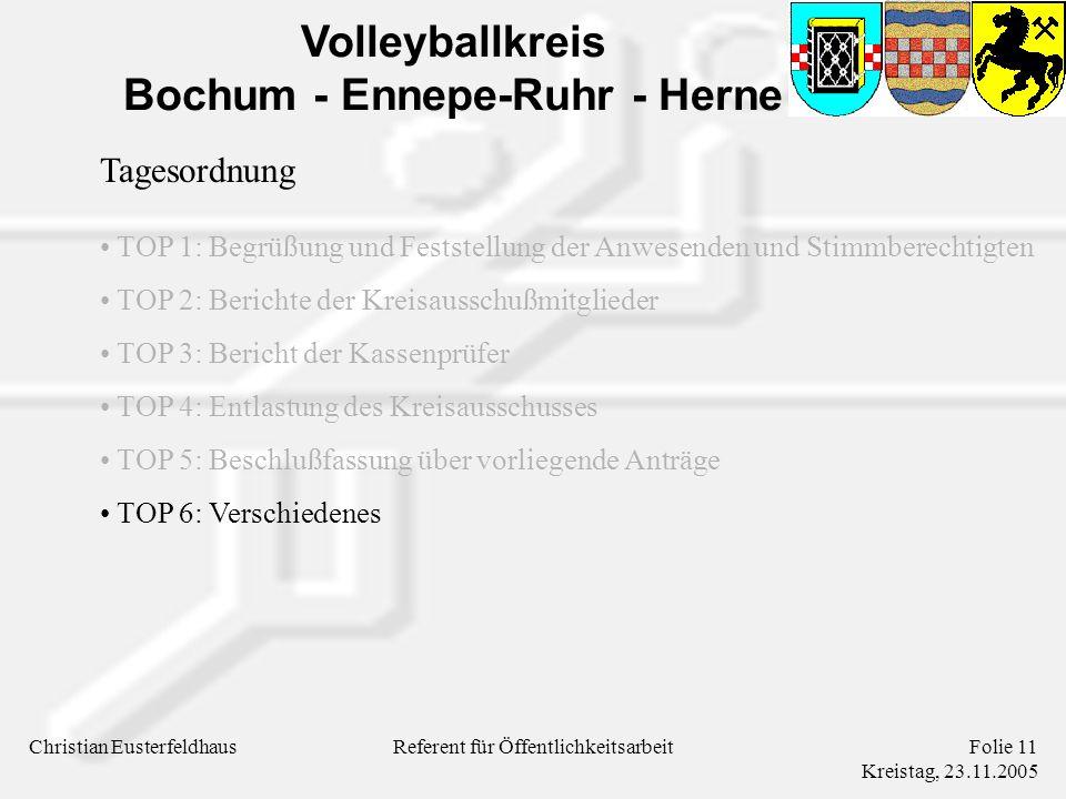 Volleyballkreis Bochum - Ennepe-Ruhr - Herne Christian EusterfeldhausFolie 11 Kreistag, 23.11.2005 Referent für Öffentlichkeitsarbeit Tagesordnung TOP