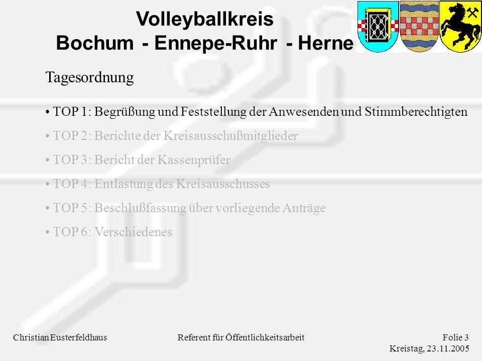 Volleyballkreis Bochum - Ennepe-Ruhr - Herne Christian EusterfeldhausFolie 3 Kreistag, 23.11.2005 Referent für Öffentlichkeitsarbeit Tagesordnung TOP