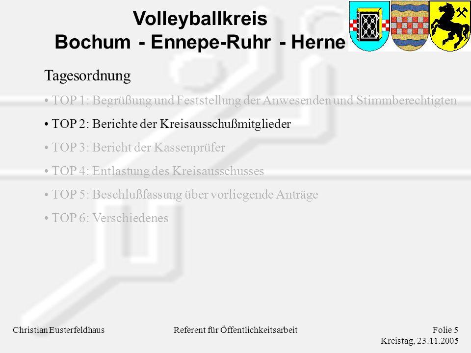 Volleyballkreis Bochum - Ennepe-Ruhr - Herne Christian EusterfeldhausFolie 5 Kreistag, 23.11.2005 Referent für Öffentlichkeitsarbeit Tagesordnung TOP