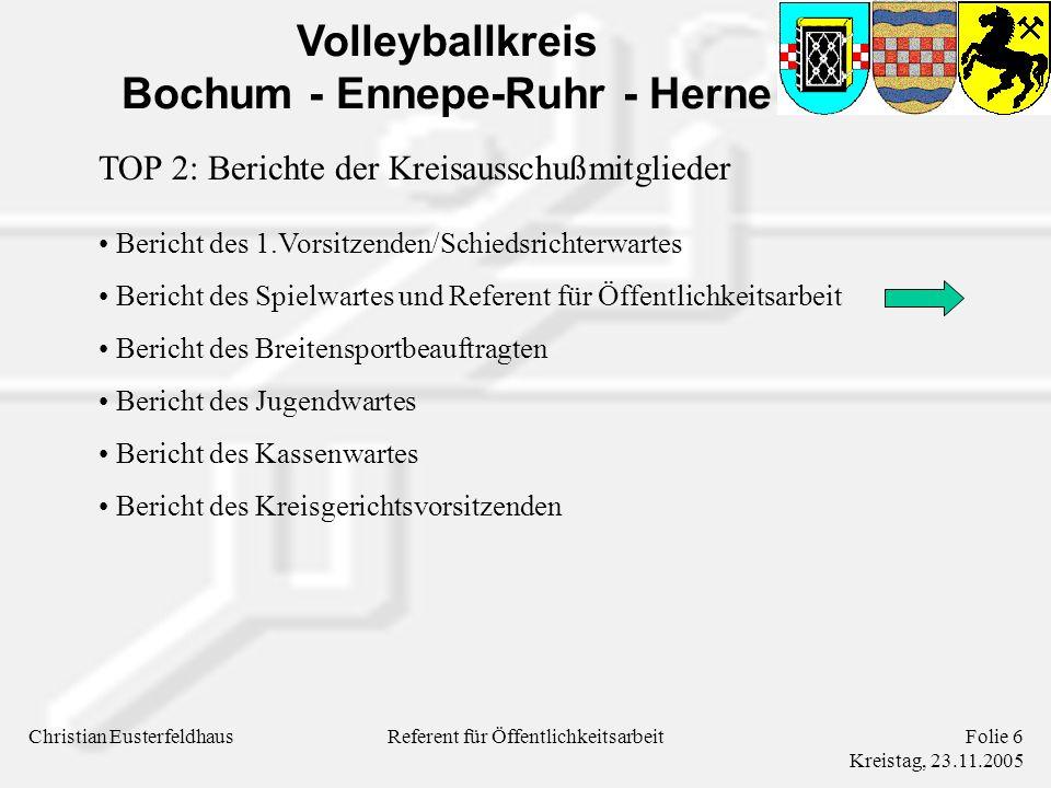 Volleyballkreis Bochum - Ennepe-Ruhr - Herne Christian EusterfeldhausFolie 7 Kreistag, 23.11.2005 Referent für Öffentlichkeitsarbeit Tagesordnung TOP 1: Begrüßung und Feststellung der Anwesenden und Stimmberechtigten TOP 2: Berichte der Kreisausschußmitglieder TOP 3: Bericht der Kassenprüfer TOP 4: Entlastung des Kreisausschusses TOP 5: Beschlußfassung über vorliegende Anträge TOP 6: Verschiedenes