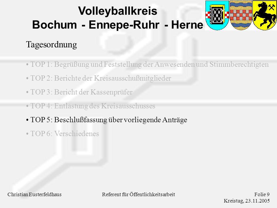 Volleyballkreis Bochum - Ennepe-Ruhr - Herne Christian EusterfeldhausFolie 9 Kreistag, 23.11.2005 Referent für Öffentlichkeitsarbeit Tagesordnung TOP