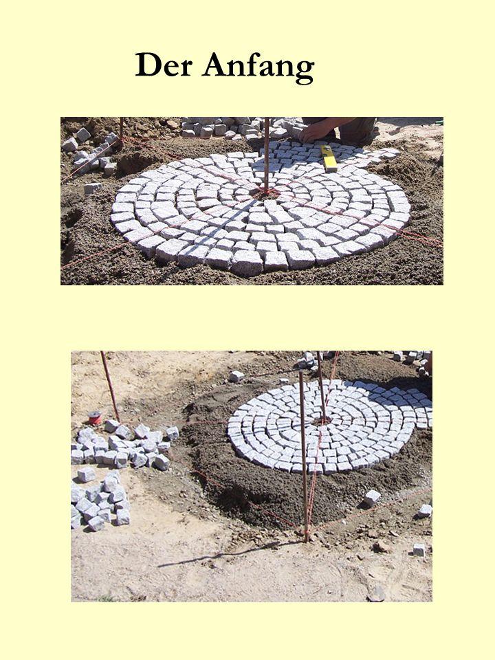 Der fertige Kreis Jetzt kann der Rest der Einfahrt um den Kreis gepflastert werden...