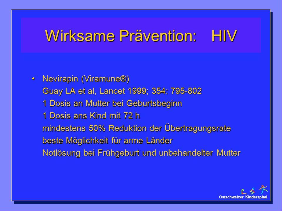 Ostschweizer Kinderspital Wirksame Prävention: HIV Nevirapin (Viramune®) Guay LA et al, Lancet 1999; 354: 795-802 1 Dosis an Mutter bei Geburtsbeginn