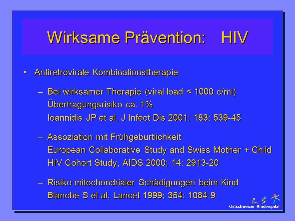 Ostschweizer Kinderspital Wirksame Prävention: HIV Antiretrovirale KombinationstherapieAntiretrovirale Kombinationstherapie –Bei wirksamer Therapie (v