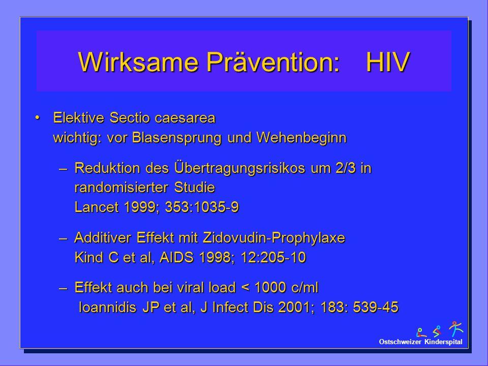 Ostschweizer Kinderspital Wirksame Prävention: HIV Elektive Sectio caesarea wichtig: vor Blasensprung und WehenbeginnElektive Sectio caesarea wichtig: