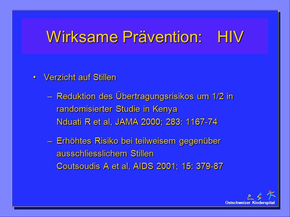 Ostschweizer Kinderspital Wirksame Prävention: HIV Verzicht auf StillenVerzicht auf Stillen –Reduktion des Übertragungsrisikos um 1/2 in randomisierte
