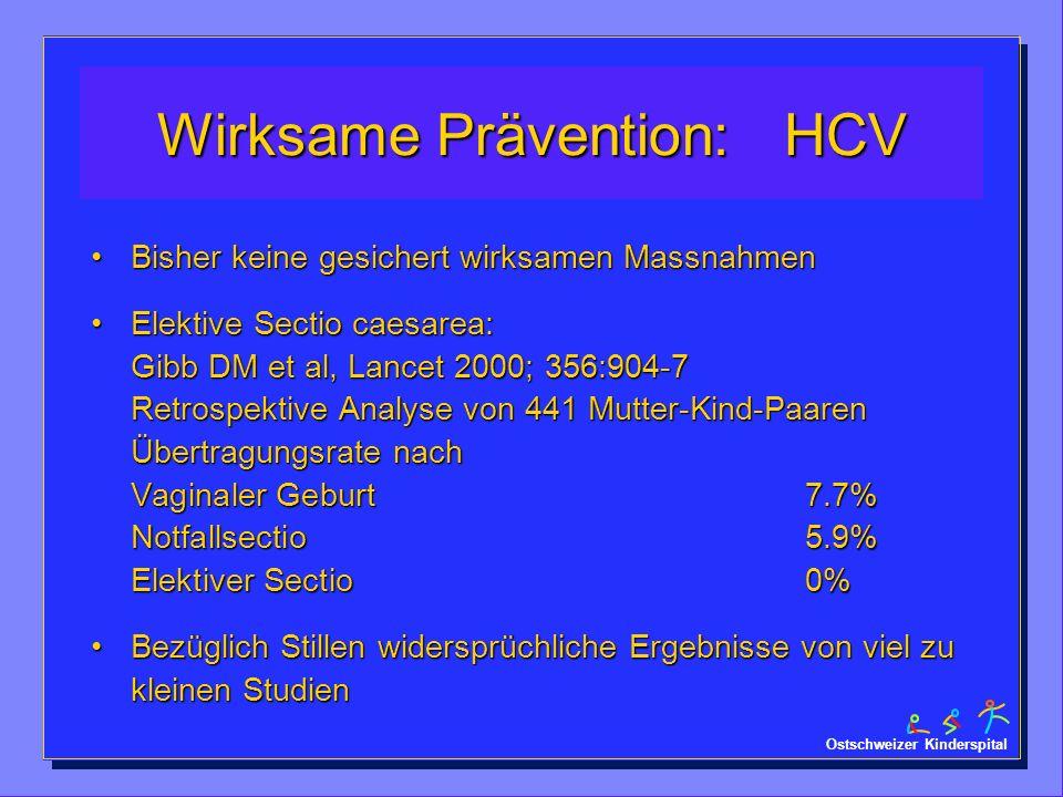 Ostschweizer Kinderspital Wirksame Prävention: HCV Bisher keine gesichert wirksamen MassnahmenBisher keine gesichert wirksamen Massnahmen Elektive Sec