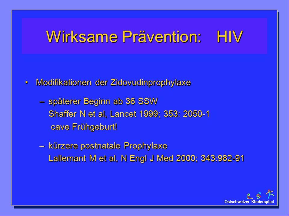 Ostschweizer Kinderspital Wirksame Prävention: HIV Modifikationen der ZidovudinprophylaxeModifikationen der Zidovudinprophylaxe –späterer Beginn ab 36