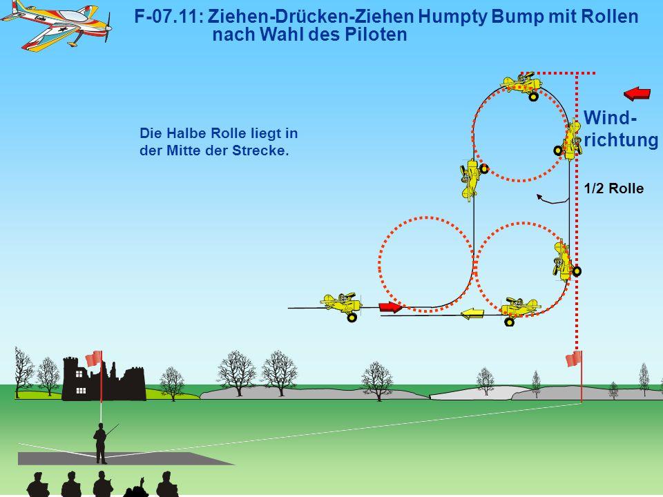 Wind- richtung F-07.11: Ziehen-Drücken-Ziehen Humpty Bump mit Rollen nach Wahl des Piloten Die Halbe Rolle liegt in der Mitte der Strecke. 1/2 Rolle