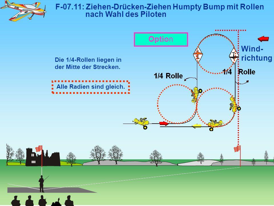 Wind- richtung F-07.11: Ziehen-Drücken-Ziehen Humpty Bump mit Rollen nach Wahl des Piloten Die 1/4-Rollen liegen in der Mitte der Strecken. Alle Radie