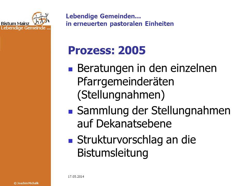 Lebendige Gemeinden… in erneuerten pastoralen Einheiten © Joachim Michalik 17.05.2014 Prozess: 2005 Diözesanversammlung 26.11.2005: Zuordnungen der Pfarreien zu Pfarrgruppen bzw.