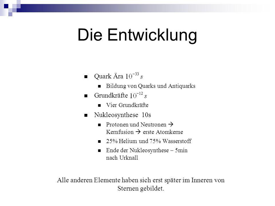 Die Entwicklung Quark Ära Bildung von Quarks und Antiquarks Grundkräfte Vier Grundkräfte Nukleosynthese 10s Protonen und Neutronen Kernfusion erste At