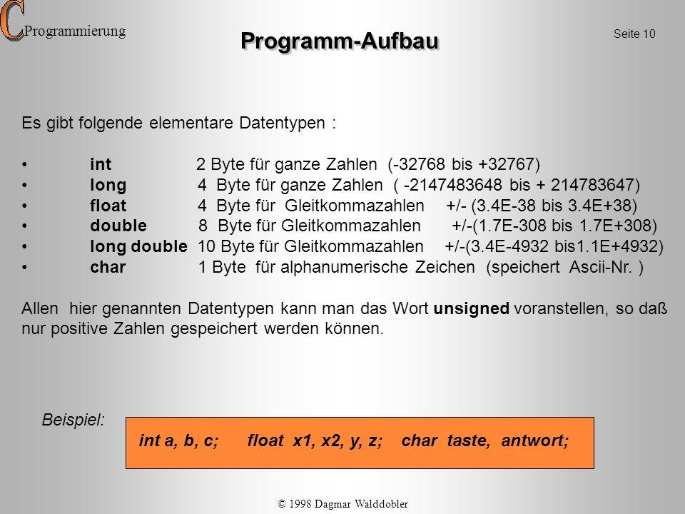 Programm-Aufbau Es gibt folgende elementare Datentypen : int 2 Byte für ganze Zahlen (-32768 bis +32767) long 4 Byte für ganze Zahlen ( -2147483648 bi