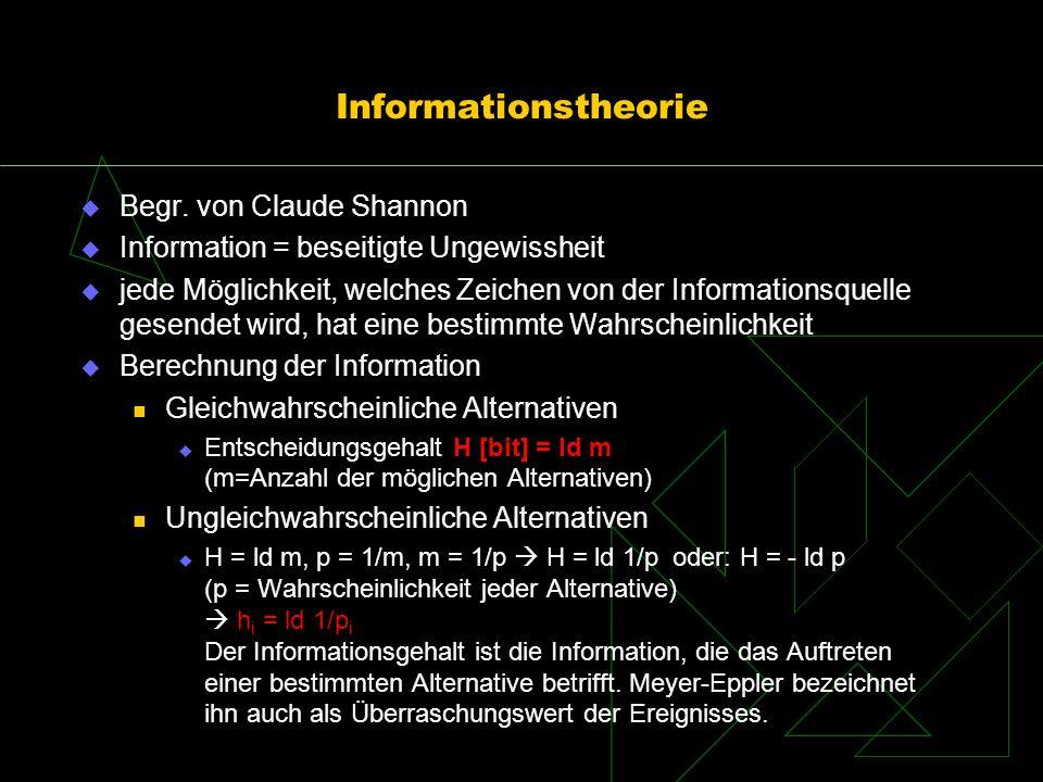 Informationstheorie Begr. von Claude Shannon Information = beseitigte Ungewissheit jede Möglichkeit, welches Zeichen von der Informationsquelle gesend