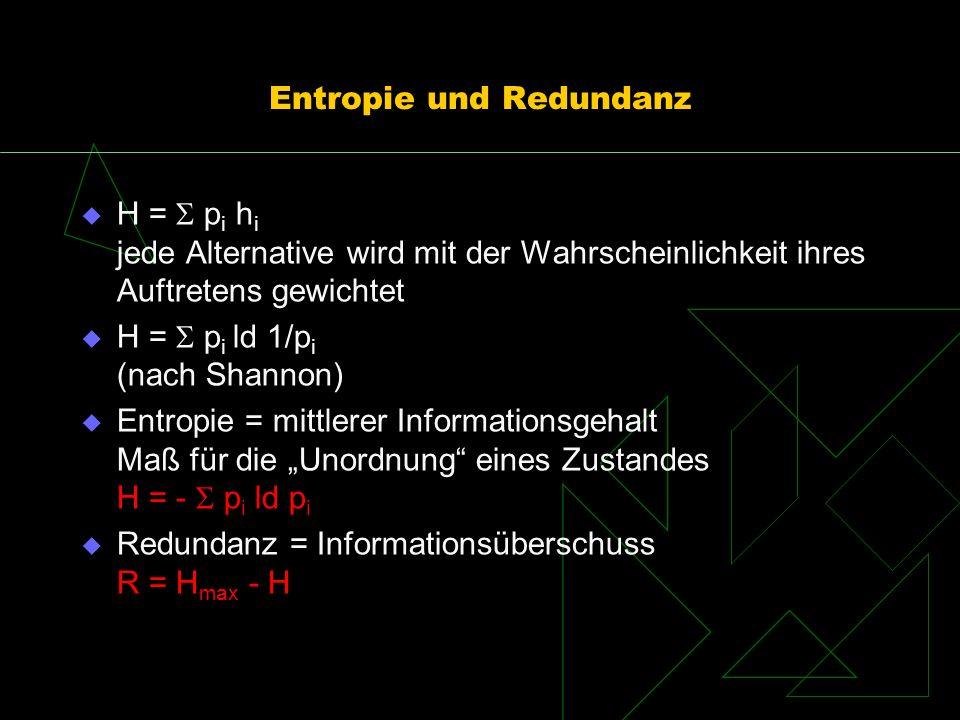 Entropie und Redundanz H = p i h i jede Alternative wird mit der Wahrscheinlichkeit ihres Auftretens gewichtet H = p i ld 1/p i (nach Shannon) Entropi