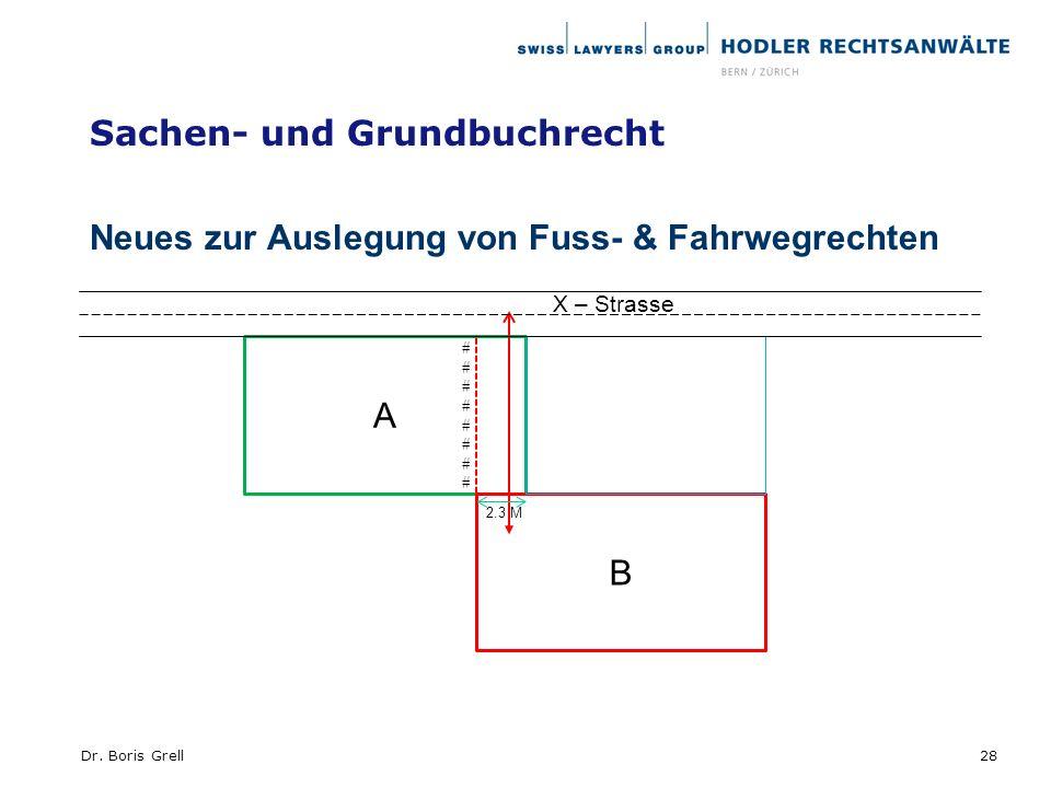 Sachen- und Grundbuchrecht Neues zur Auslegung von Fuss- & Fahrwegrechten 28Dr. Boris Grell A B ################ X – Strasse 2.3 M