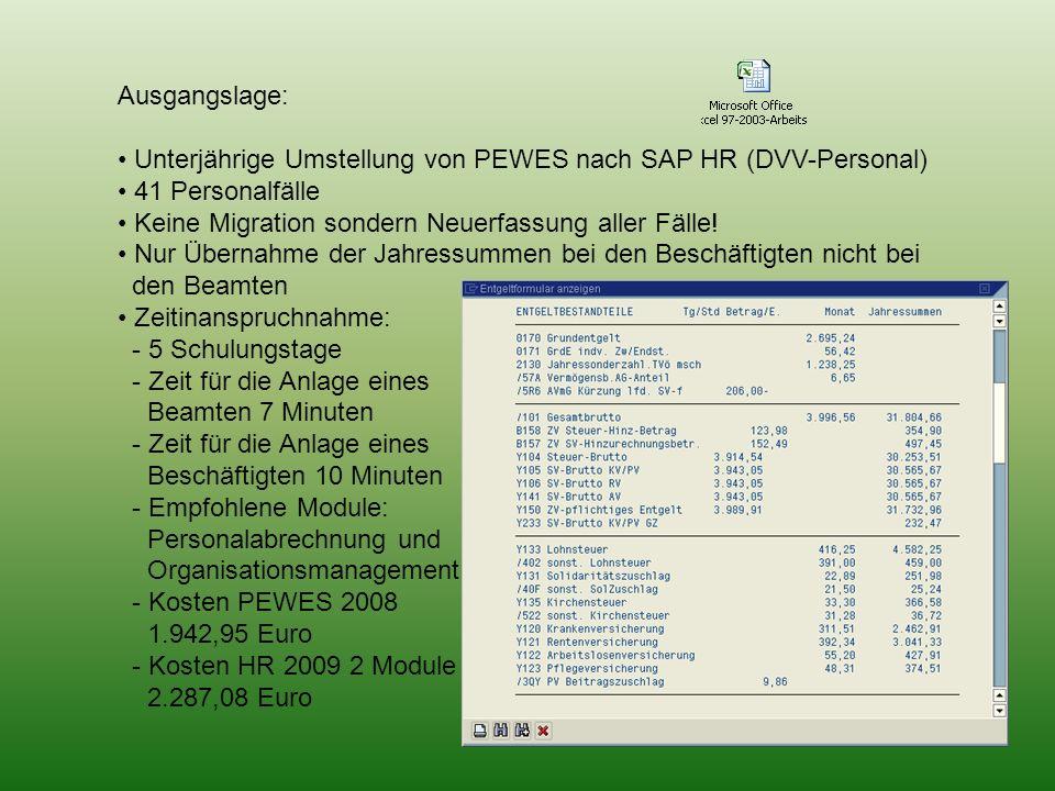 Ausgangslage: Unterjährige Umstellung von PEWES nach SAP HR (DVV-Personal) 41 Personalfälle Keine Migration sondern Neuerfassung aller Fälle! Nur Über