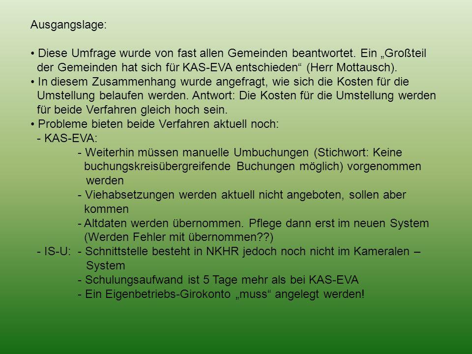Ausgangslage: Diese Umfrage wurde von fast allen Gemeinden beantwortet. Ein Großteil der Gemeinden hat sich für KAS-EVA entschieden (Herr Mottausch).