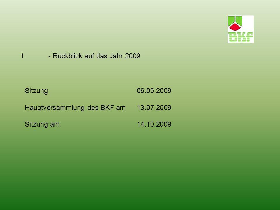 1. - Rückblick auf das Jahr 2009 Sitzung 06.05.2009 Hauptversammlung des BKF am 13.07.2009 Sitzung am 14.10.2009