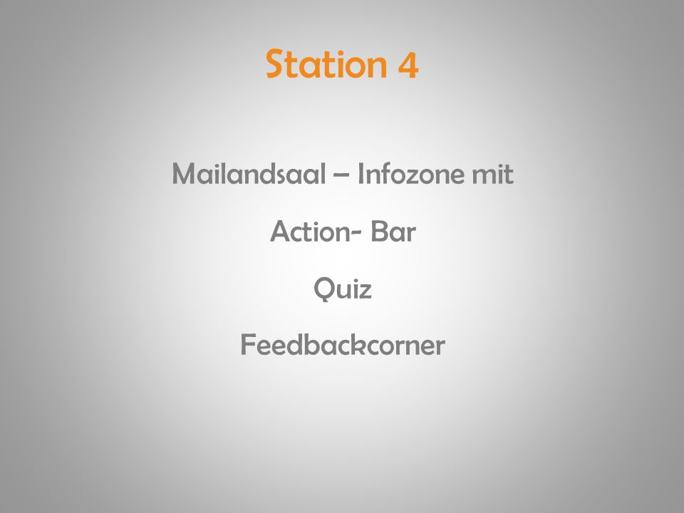 Station 4 Mailandsaal – Infozone mit Action- Bar Quiz Feedbackcorner