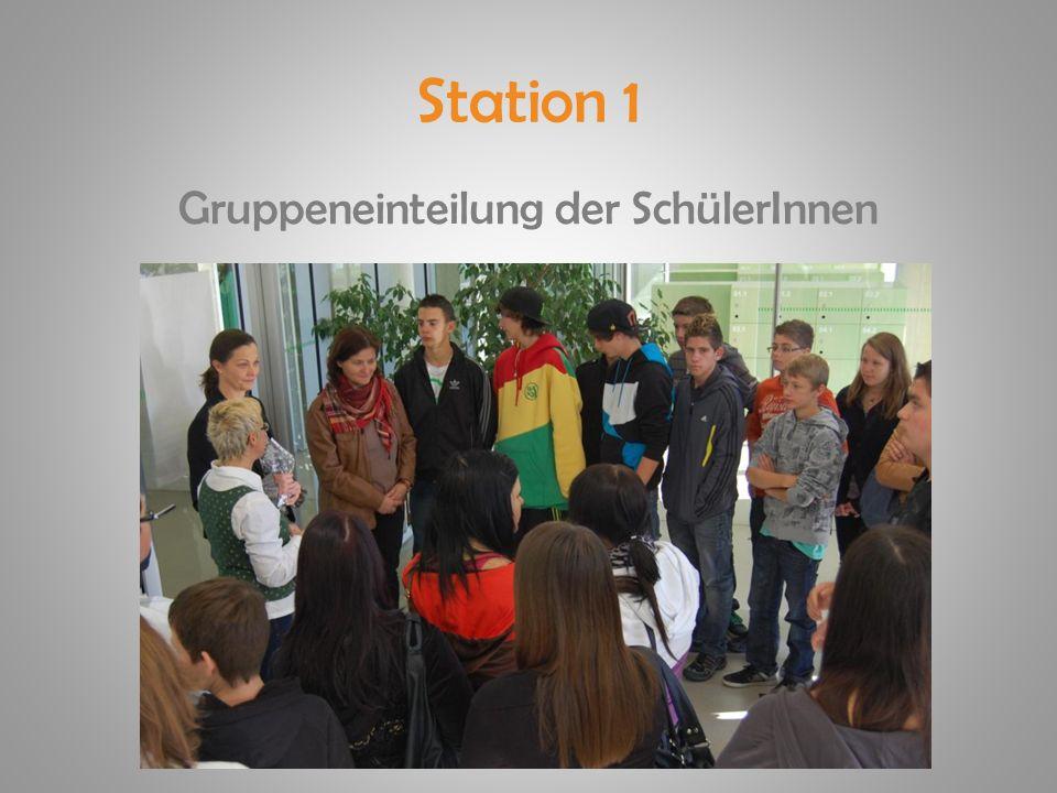 Station 1 Gruppeneinteilung der SchülerInnen