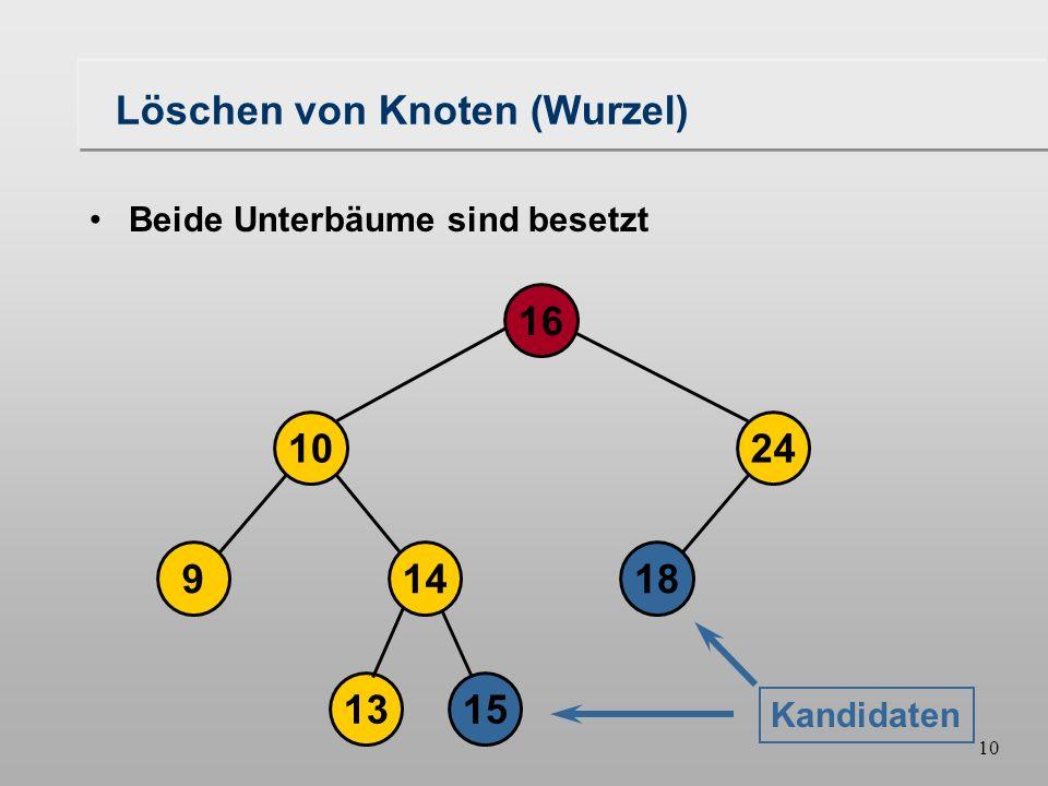 9 Löschen von Knoten (Wurzel) 18149 1024 16 1315 Beide Unterbäume sind besetzt Kriterien: Der Knoten muß größer sein, als die Wurzel des linken Unterbaums.