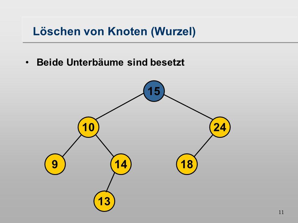 10 Löschen von Knoten (Wurzel) 18149 1024 16 1315 Beide Unterbäume sind besetzt Kandidaten