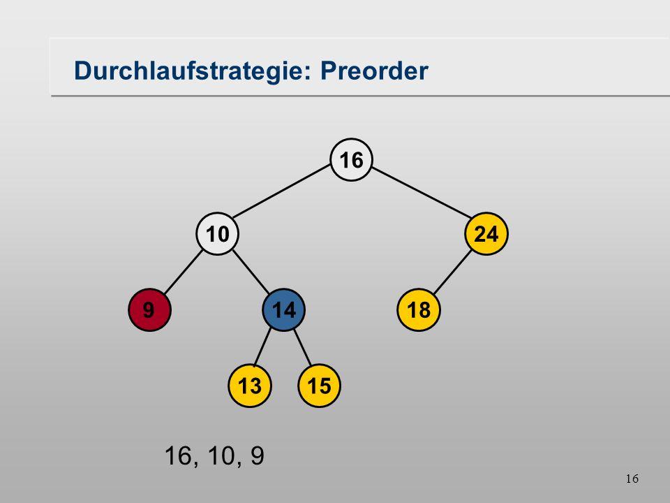 15 Durchlaufstrategie: Preorder 18149 1024 16 1315 16, 10