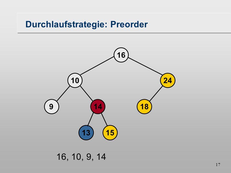 16 Durchlaufstrategie: Preorder 18149 1024 16 1315 16, 10, 9
