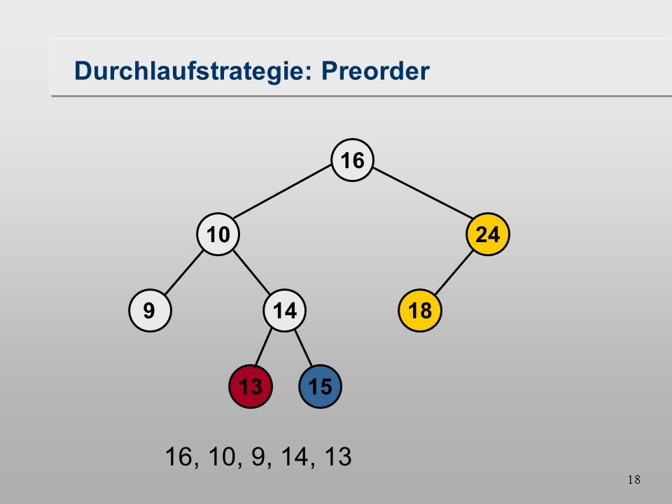 17 Durchlaufstrategie: Preorder 18149 1024 16 1315 16, 10, 9, 14