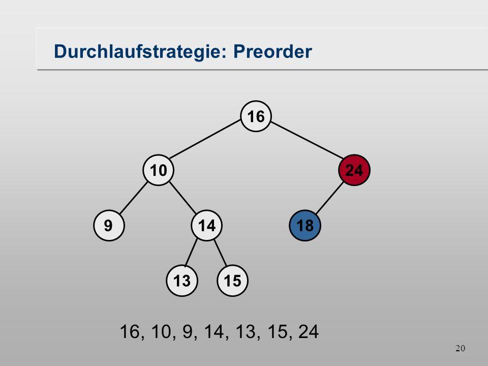19 Durchlaufstrategie: Preorder 18149 1024 16 1315 16, 10, 9, 14, 13, 15