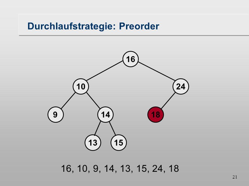 20 Durchlaufstrategie: Preorder 18149 1024 16 1315 16, 10, 9, 14, 13, 15, 24