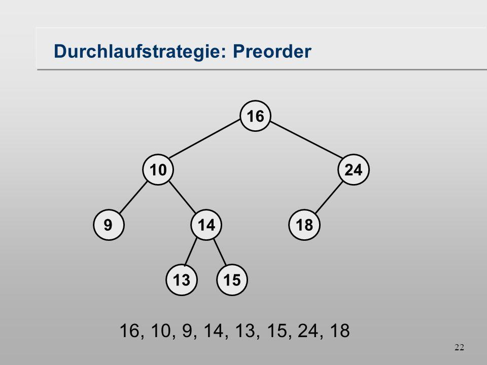 21 Durchlaufstrategie: Preorder 18149 1024 16 1315 16, 10, 9, 14, 13, 15, 24, 18