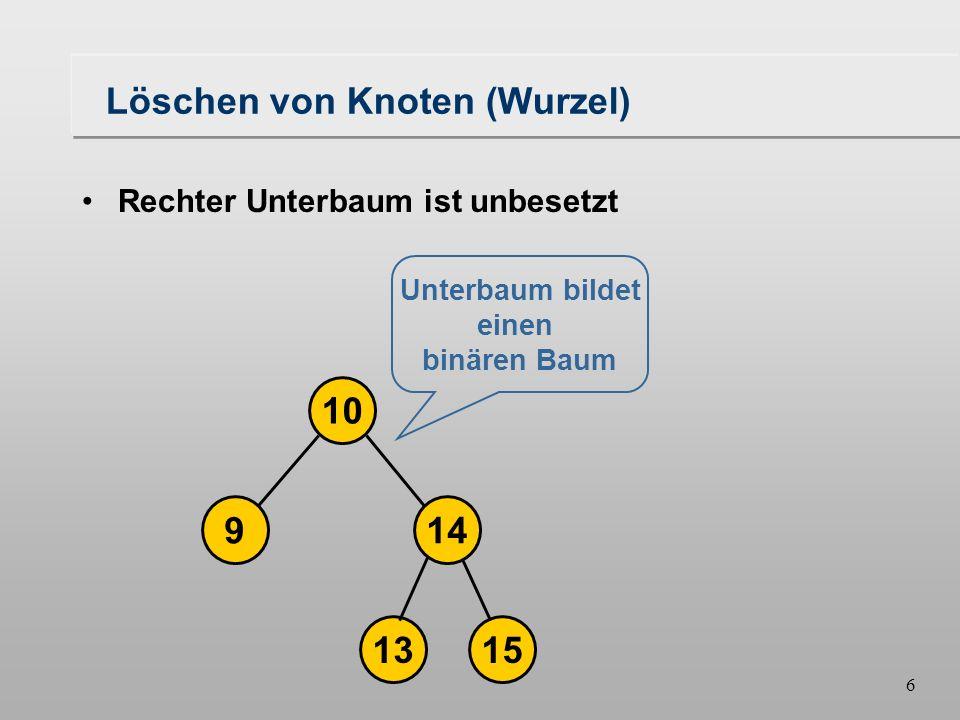 5 Löschen von Knoten (Wurzel) 149 10 16 1315 Rechter Unterbaum ist unbesetzt