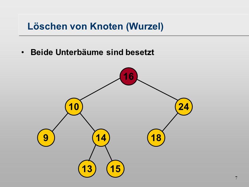 6 Löschen von Knoten (Wurzel) Rechter Unterbaum ist unbesetzt Unterbaum bildet einen binären Baum 149 10 1315